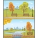 Autumn Autumnal Park with Cityscape Set Vector - GraphicRiver Item for Sale