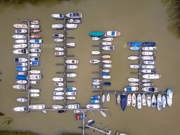 River Marina in winter - Stock Photo - Images