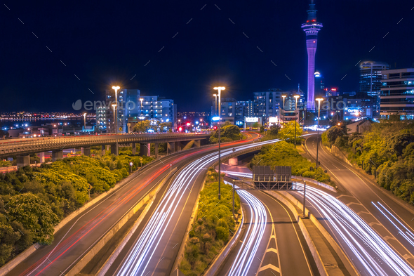 Motorway with Night traffic in Auckland city New Zealand - Stock Photo - Images