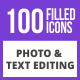 100 Photo & Text Editing Filled Blue & Black Icons - GraphicRiver Item for Sale