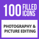 100 Photography & Picture Filled Blue & Black Icons - GraphicRiver Item for Sale
