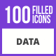 100 Data Filled Blue & Black Icons - GraphicRiver Item for Sale