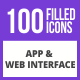 100 App & Web Interface Filled Blue & Black Icons - GraphicRiver Item for Sale
