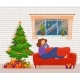 Woman Reading Book by Christmas Tree - GraphicRiver Item for Sale
