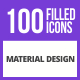 100 Material Design Filled Blue & Black Icons - GraphicRiver Item for Sale