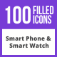 100 Smartphone & Smartwatch Filled Blue & Black Icons - GraphicRiver Item for Sale