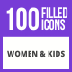 100 Women & Kids Filled Blue & Black Icons - GraphicRiver Item for Sale