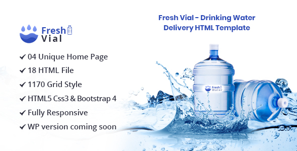 Fresh Vial - Drinking Mineral Water Delivery Bootstrap4 HTML Template
