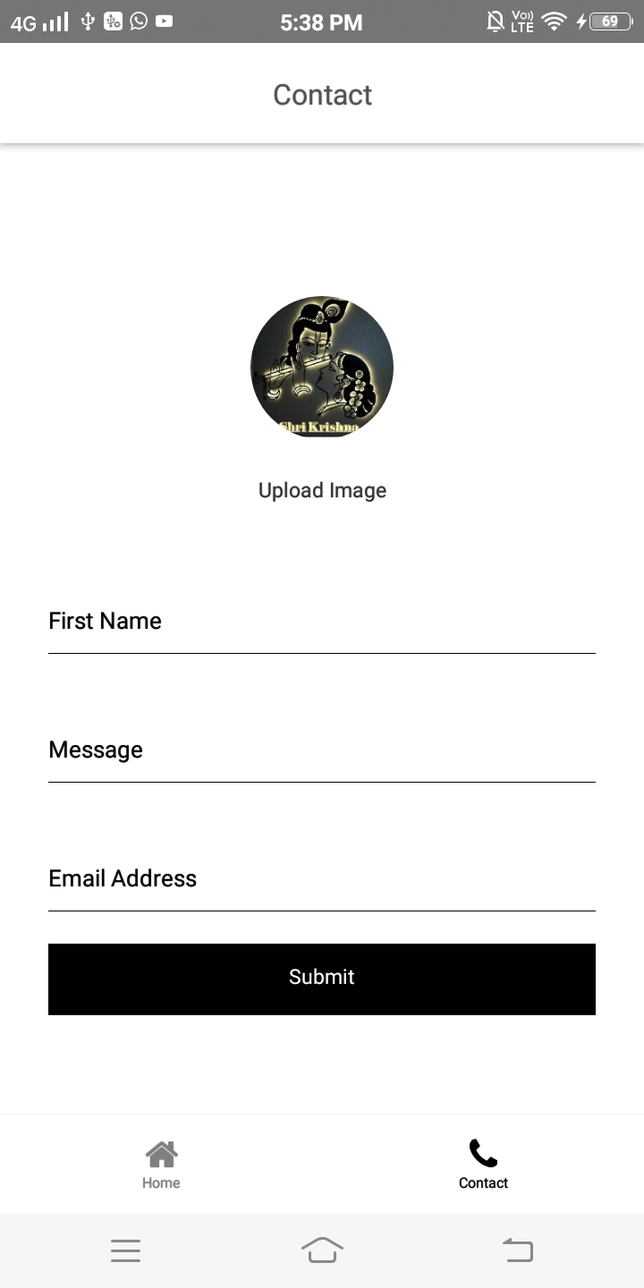 React native contact form with cropper