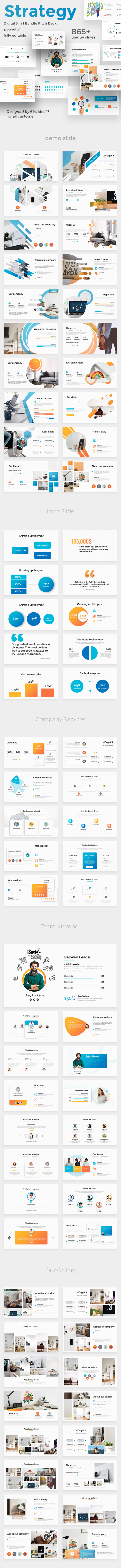 Digital Strategy 3 in 1 Pitch Deck Powerpoint Bundle Template - Business PowerPoint Templates