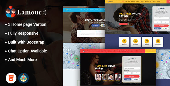Lamour - Dating Website HTML5 Template - Social Media Home Personal