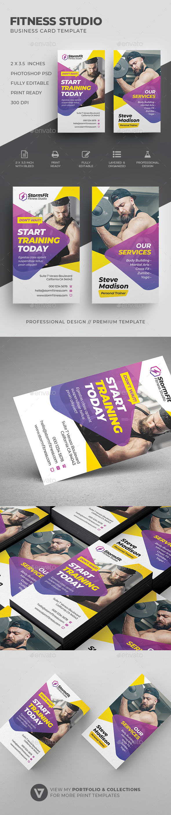 Fitness Business Card Template - Industry Specific Business Cards