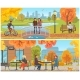 Autumn Park and Relaxing Resting People Set Vector - GraphicRiver Item for Sale