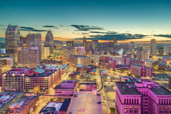 detroit michigan usa downtown skyline at dusk stock photo by seanpavonephoto photodune