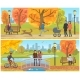 Couple Standing on Bridge Autumn Park Set Vector - GraphicRiver Item for Sale