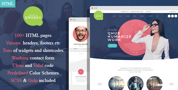 QWorks - Сoworking and Office Space HTML Template
