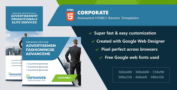HTML5 Animated Banner Ads - Corporate (GWD) - CodeCanyon Item for Sale