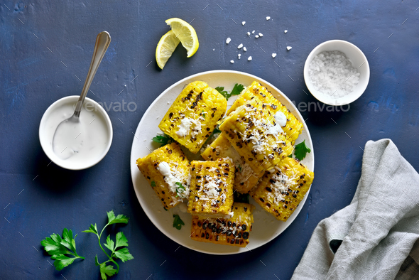 Roasted corn on the cob - Stock Photo - Images