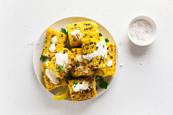 Grilled corn on cob - Stock Photo - Images