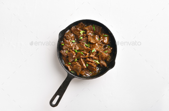 Mongolian beef, top view - Stock Photo - Images