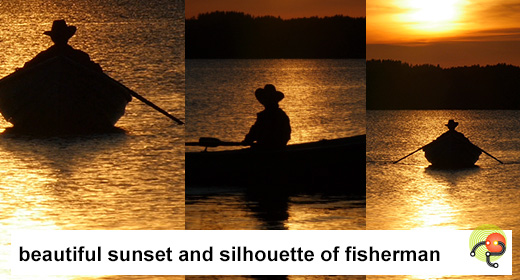 Yellow sunset and silhouette of fisherman on rowing boat