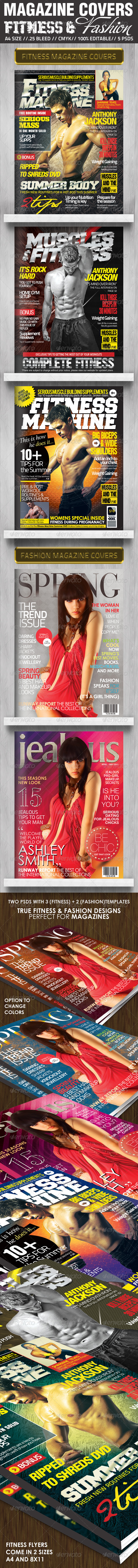 Fashion & Fitness Magazine Cover PSD Templates - Magazines Print Templates