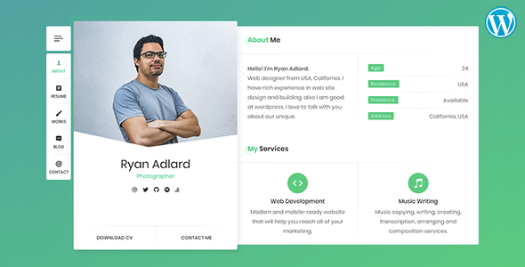 Ryan - Resume / CV / vCard Theme