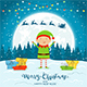 Elf on Winter Background with Gifts - GraphicRiver Item for Sale