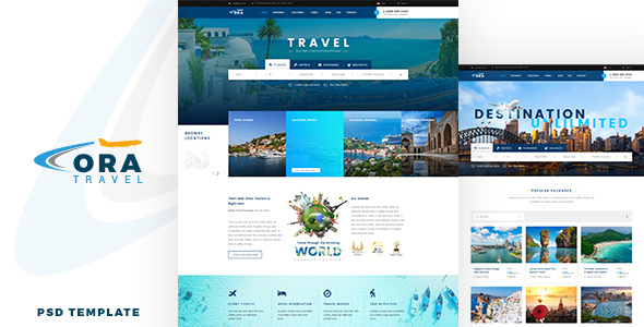 Ora | Travel & Hotel Booking PSD Template