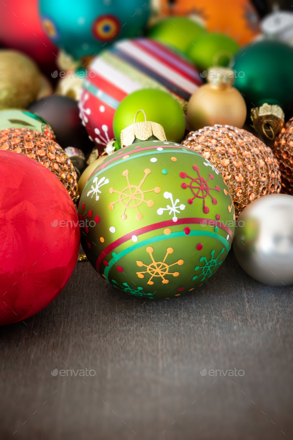 Christmas decoration glass balls on a wooden ground - Stock Photo - Images
