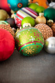 Christmas decoration glass balls on a wooden ground - PhotoDune Item for Sale