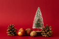 Christmas decoration with a fir tree on red background - PhotoDune Item for Sale