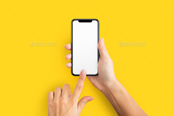 Mockup of female hand holding cell phone with blank screen - Stock Photo - Images