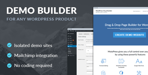 Demo Builder for any WordPress Product - CodeCanyon Item for Sale