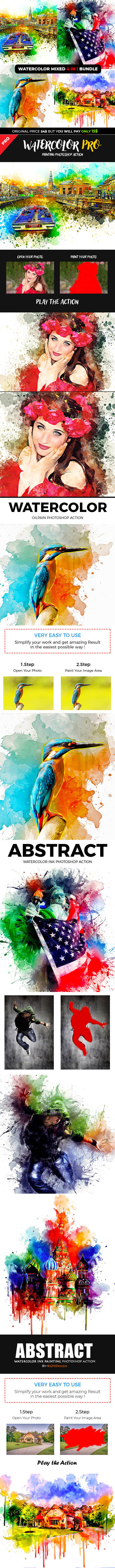 Watercolor Mixed 4 in 1 Photoshop Action Bundle - Photo Effects Actions