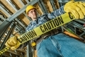 Worker with Caution Tape - PhotoDune Item for Sale