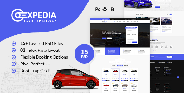 Xpedia- Car Rental PSD Template