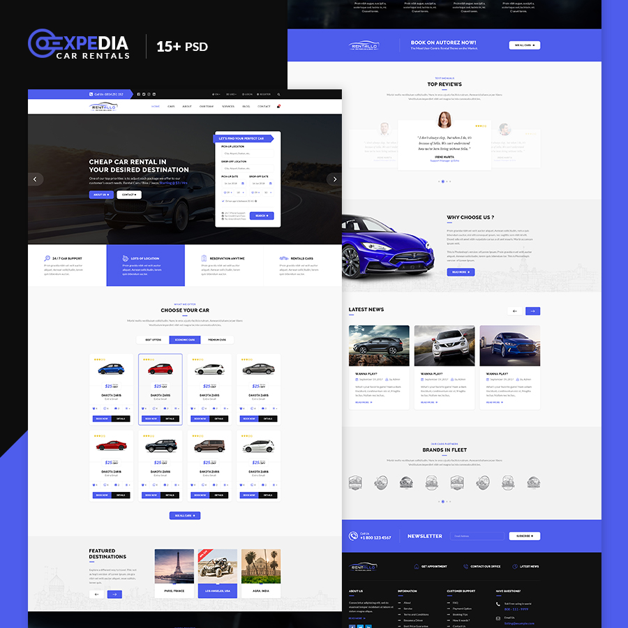 Xpedia- Car Rental PSD Template - 1