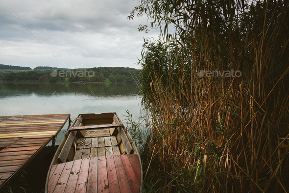Fishing boat on the lake - Stock Photo - Images