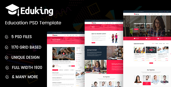 Eduking - Education PSD Template
