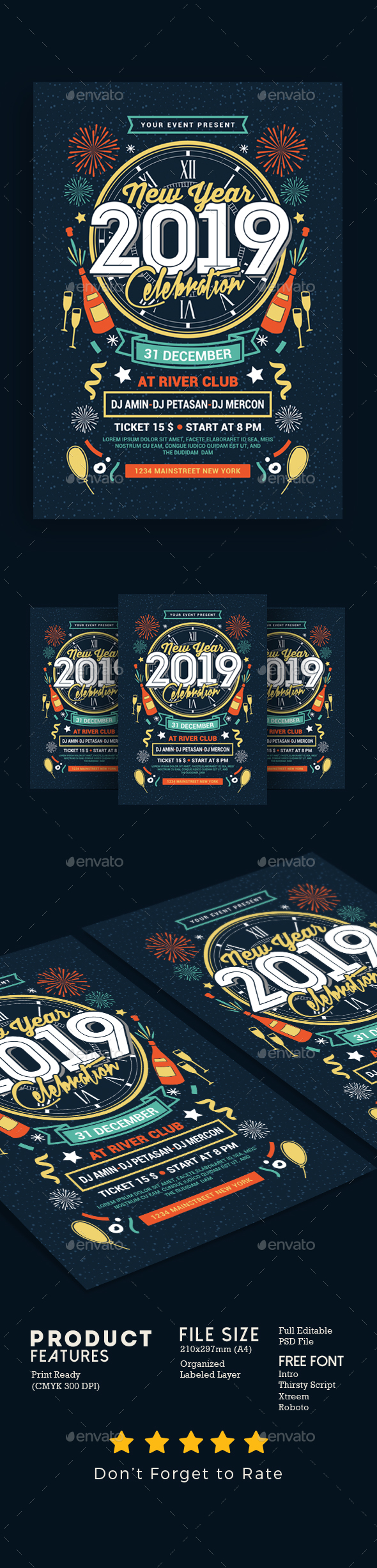 New Year Party Celebration - Events Flyers