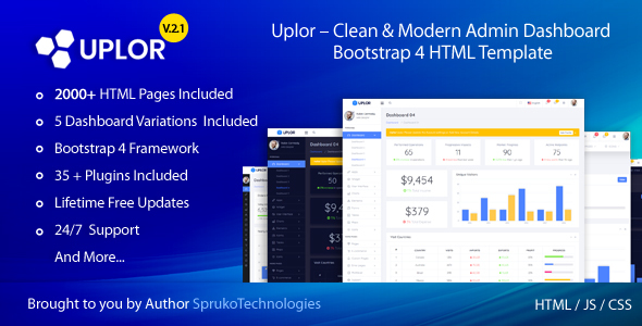 Uplor – Clean & Modern Admin Dashboard Bootstrap 4 HTML Template by SprukoSoft