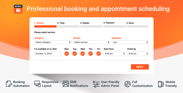 Bookly PRO – Appointment Booking and Scheduling Software System Nulled