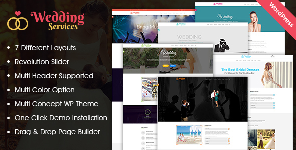 Wedding Services WordPress Theme - Wedding WordPress