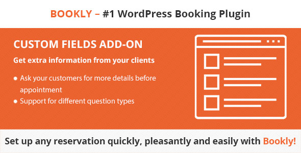 Bookly Custom Fields (Add-on) - CodeCanyon Item for Sale