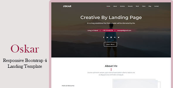 Oskar - Responsive Bootstrap 4 Landing Template - Marketing Corporate
