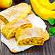 Strudel pumpkin and apple with raisins on dark board - PhotoDune Item for Sale