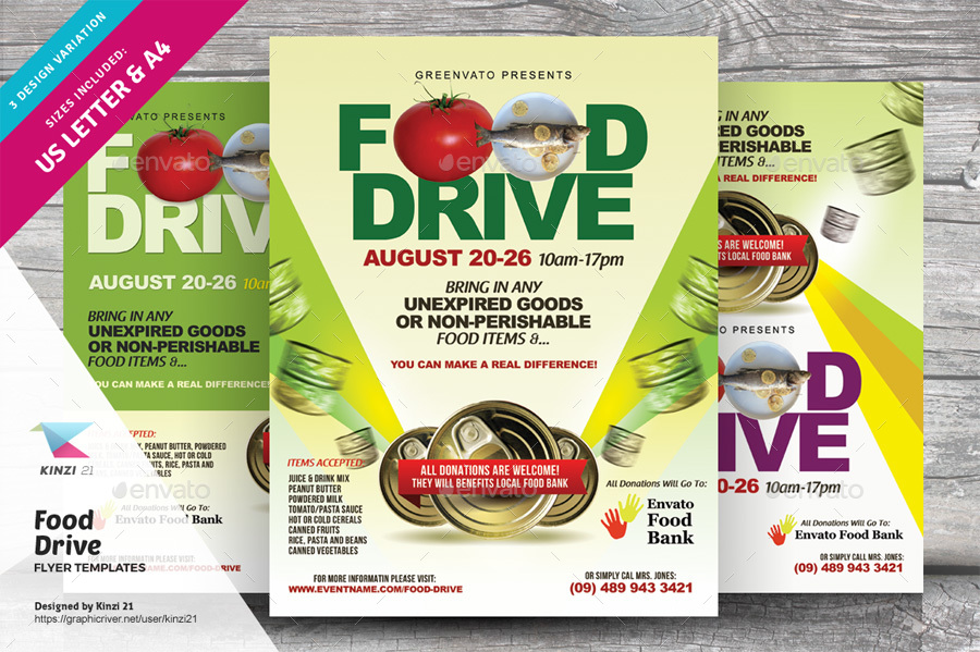 food drive flyer templates by kinzi21 graphicriver
