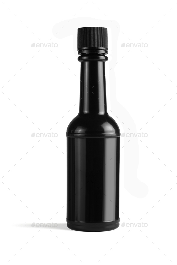 Black Plastic Bottle - Stock Photo - Images