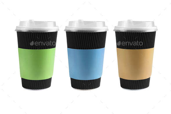Three Black Paper Cups - Stock Photo - Images